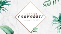 【极简风】轻奢植物点金大理石杂志风PPT商务模板
