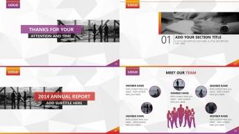 经典图文混排现代商务报告模板(两种配色方案)