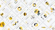 【黄色扁平商务图表30页】创意关系图表 简洁浅色5