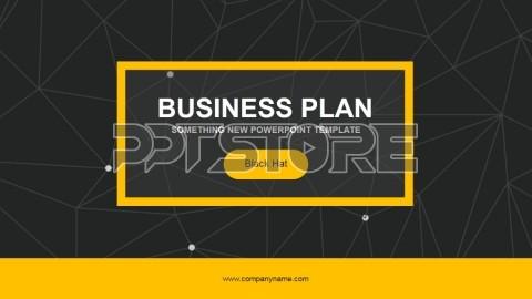 黄黑经典点线背景商务实用ppt模板