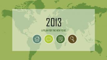 2013绿色国际商务年终总结PPT模板