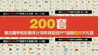 复古扁平炫彩新年计划年终总结PPT图表合集200套示例2