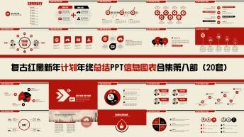 复古红黑新年计划年终总结PPT图表合集第八部20套