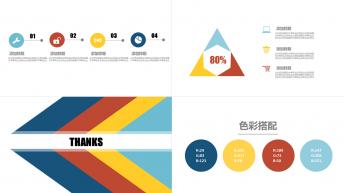 完美四色 商务蓝色简约大气 时尚 总结模板示例7