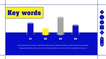 【蓝亮色】蓝黄亮色线条潮工作汇报PPT模板示例7