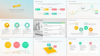 简约实用扁平化商务策划、工作汇报模板四套合集示例7