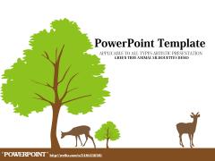 綠色小樹動物剪影藝術PPT模板