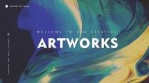 【抽象艺术】现代商务高品质总结报告工作计划模板