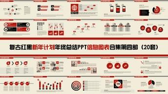 复古红黑新年计划年终总结PPT图表合集第四部20套