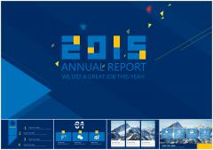 极美超实用大气蓝色经典商务创意图表年度总结模板