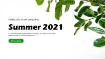 超清新绿色简约商务汇报模板示例2