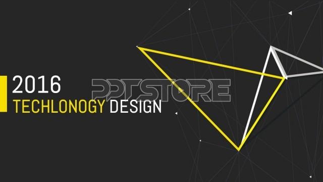 黑黄线条极简极致排版商务通用ppt模板