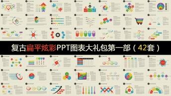 复古扁平炫彩年终总结PPT信息图表合集第一部42套