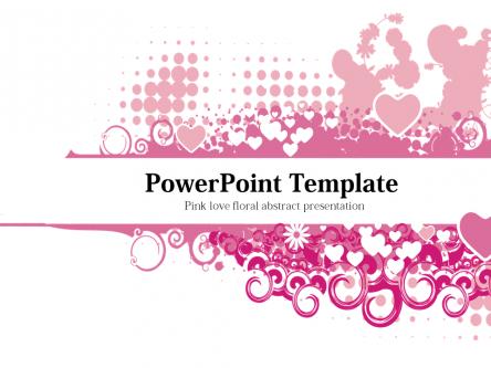 粉色爱心花卉抽象ppt模板