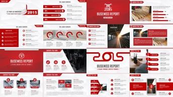 2015红色大气跨年年终总结多用模板【合集四套】