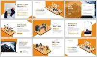 橙色2.5D插画风商务汇报PPT模板示例5