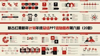 复古红黑新年计划年终总结PPT图表合集第六部20套