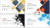 创意几何总结报告工作计划商务模板合集【含四套】