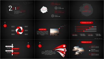 【红色墨滴质感中国风商务模板02】简约渐变微立体