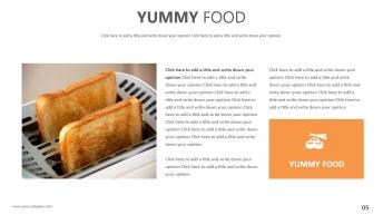 【轻扁平NO.20】面包黄美食商务模板示例4