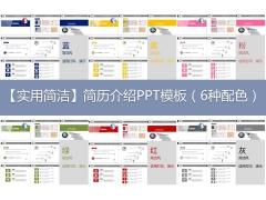 【实用简洁】简历介绍PPT模板(6种配色)