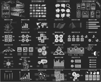 【白色粉笔手绘线稿】30套图表送动态模板送手机!