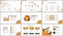 橙色2.5D插画风商务汇报PPT模板示例6