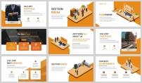 橙色2.5D插画风商务汇报PPT模板示例4