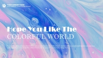 粉蓝清新艺术优雅水彩商务汇报模板