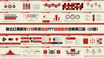 复古红黑新年计划年终总结PPT图表合集第三部20套