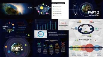【全球化】大气炫目视觉 实用演示提案模板示例3