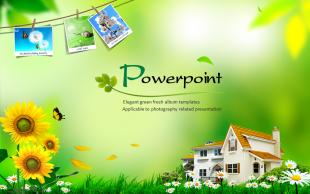 绿色小清新相册PPT模(动态版)