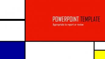 【年中總結報告】【紅黃藍】簡潔大氣商務PPT模板