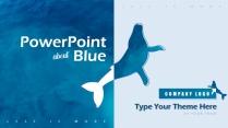 高顏值海洋藍簡約歐美風商務項目PPT模板