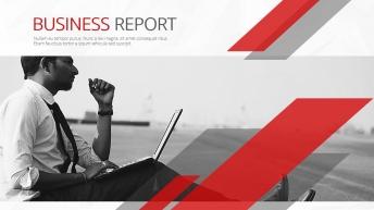 创意现代欧美图文混排商务总结报告多用模板【红蓝双色