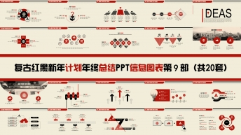 复古红黑新年计划年终总结PPT图表合集第九部20套
