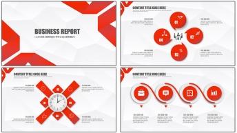 红色创意立体风格总结汇报多用模板