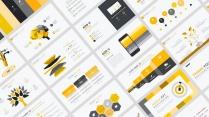 【黄色扁平商务图表25页】创意关系图表 简洁浅色2