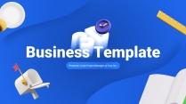【别具一格】3D立体蓝白简约商务通用模板