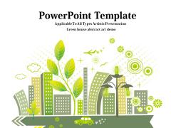 清新简洁绿色城市PPT模板
