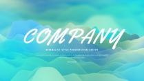 【抽象】蓝绿渐变温柔创意商务工作汇报PPT模板