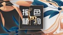 【创意】撞色植物系树叶金色麋鹿PPT