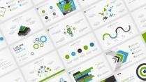 【蓝绿双色微立体商务图表25页】创意关系图表