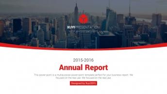 2015年大气年终总结汇报PPT模板(红蓝双色)