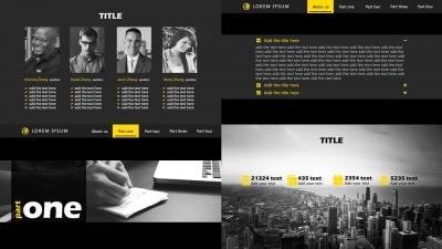 三种可选配色 欧美顶级网页编排风格 商务ppt模板图片