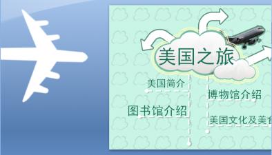 【小清新小飞机动态游记模版ppt模板】-pptstore