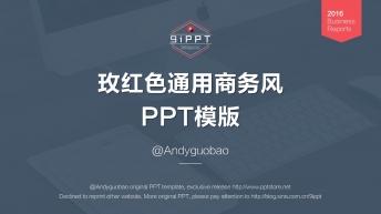 图文混排大气简洁玫红色通用商务风PPT模板