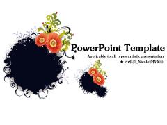墨点花卉抽象艺术PPT模板