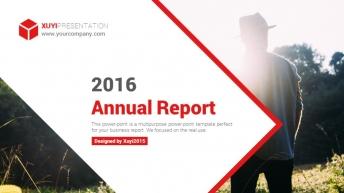 2015年欧美红色大气商务总结汇报PPT模板