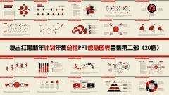 复古红黑新年计划年终总结PPT图表合集第二部20套